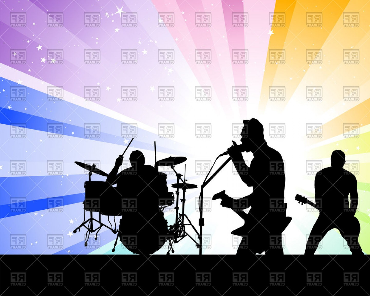 Singers Vector Art: Rock Group Singers Musicians On Concert Music Band Vector Clipart