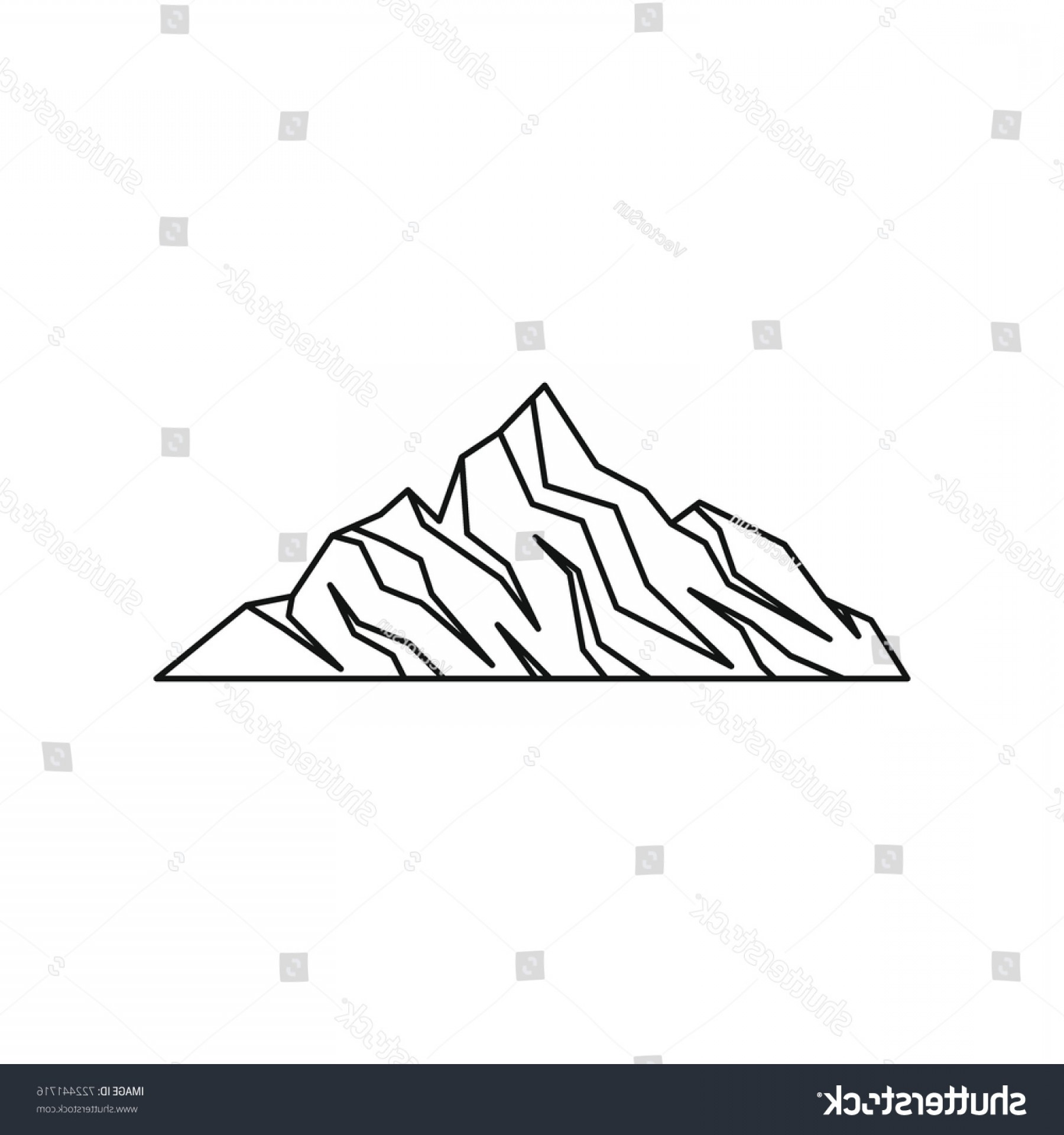 Rocky Mountain Line Art Vector: Rock Mountain Icon Outline Illustration Vector