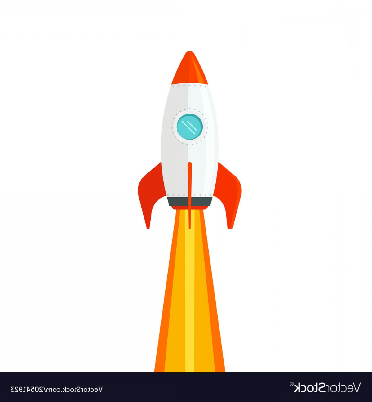Rocket Ship Vector: Rocket Ship Flying Isolated On White Background Vector