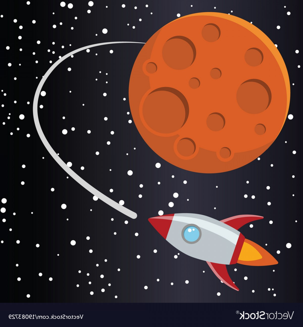 Space Vector Graphics: Rocket With Mars In Space Vector