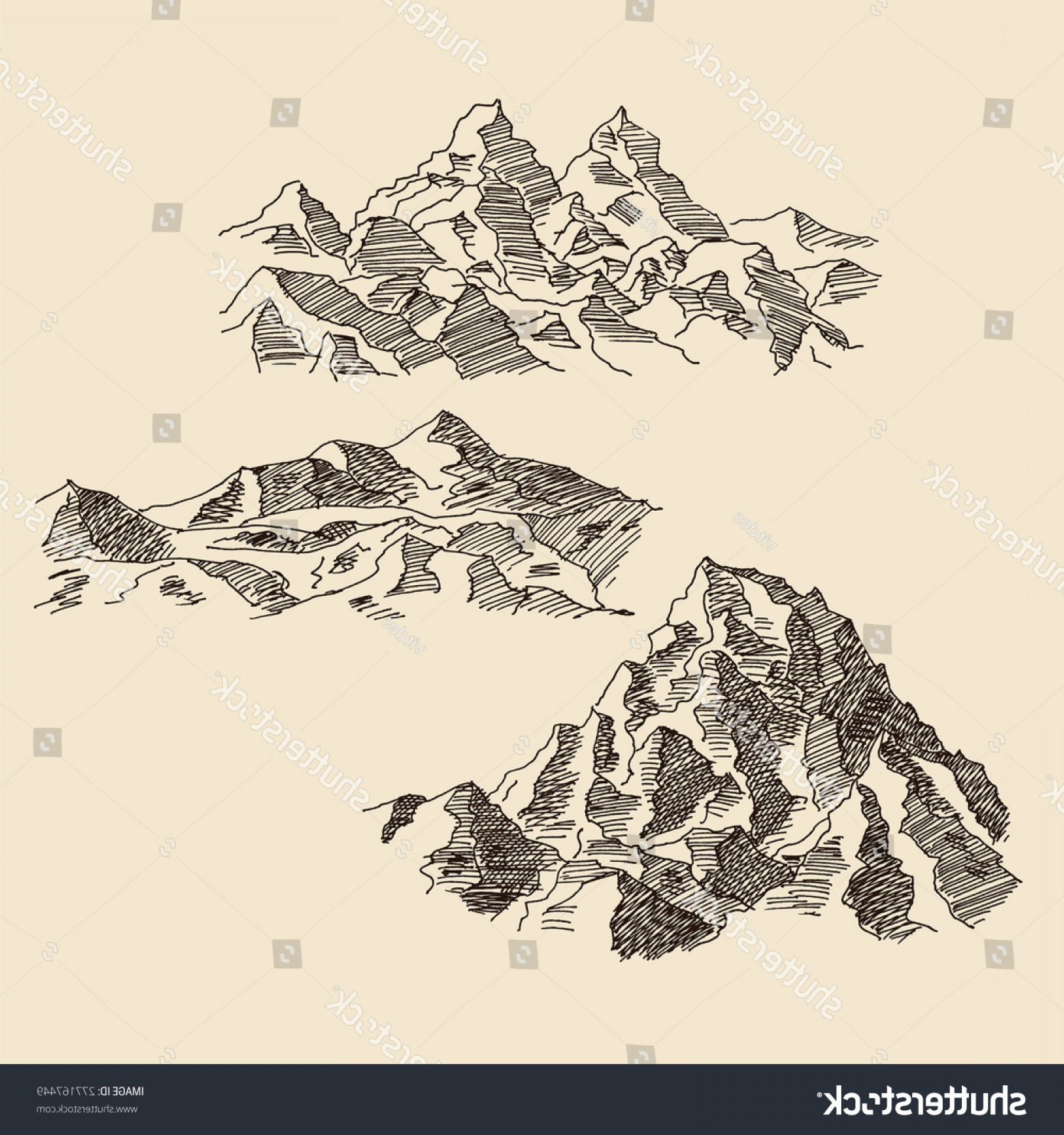 Rocky Mountain Line Art Vector: Rocky Alpine Mountain Scenery Landscape Rocks