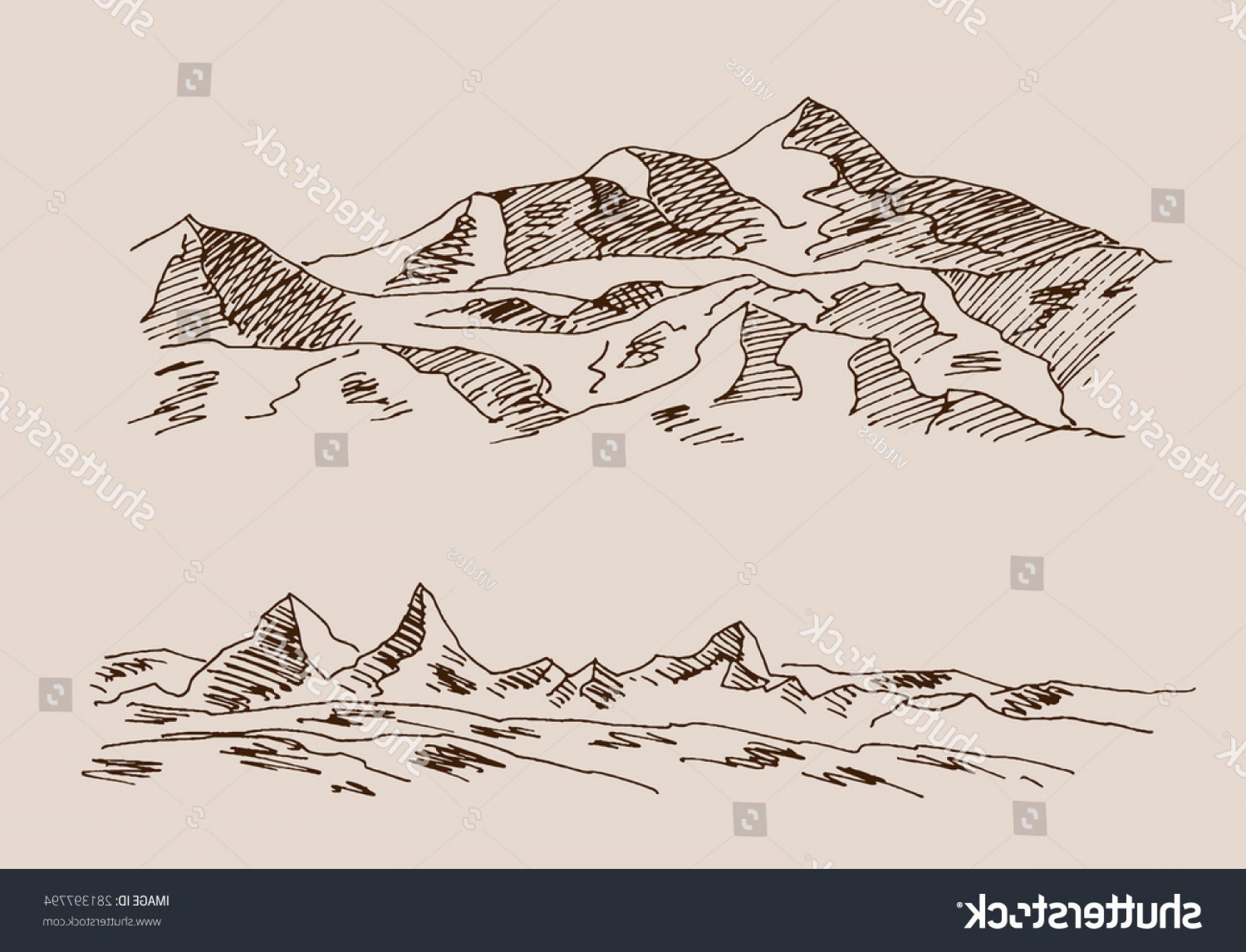 Rocky Mountain Line Art Vector: Rocky Mountain Scenery Rocks Engraving Etching