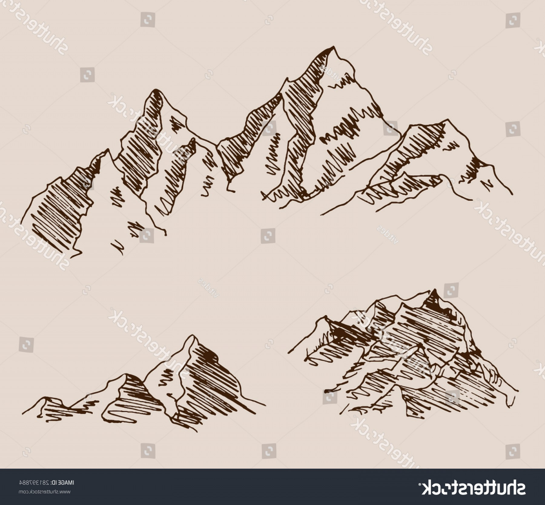 Rocky Mountain Line Art Vector: Rocky Mountain Set Engraving Etching Hand
