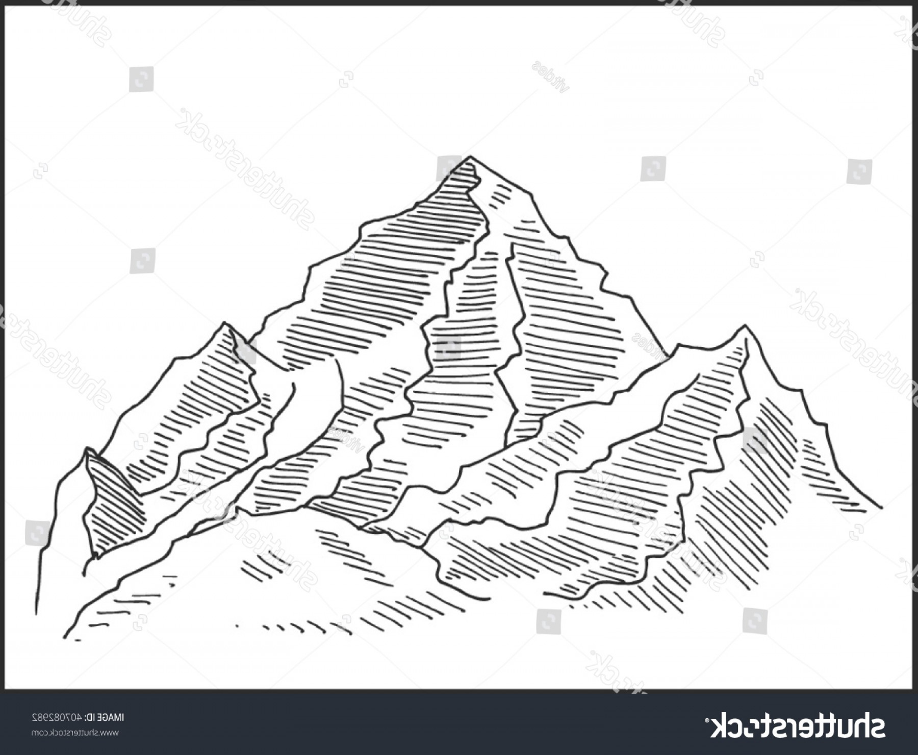 Rocky Mountain Line Art Vector: Rocky Mountain Vector Illustration Landscape Scenery