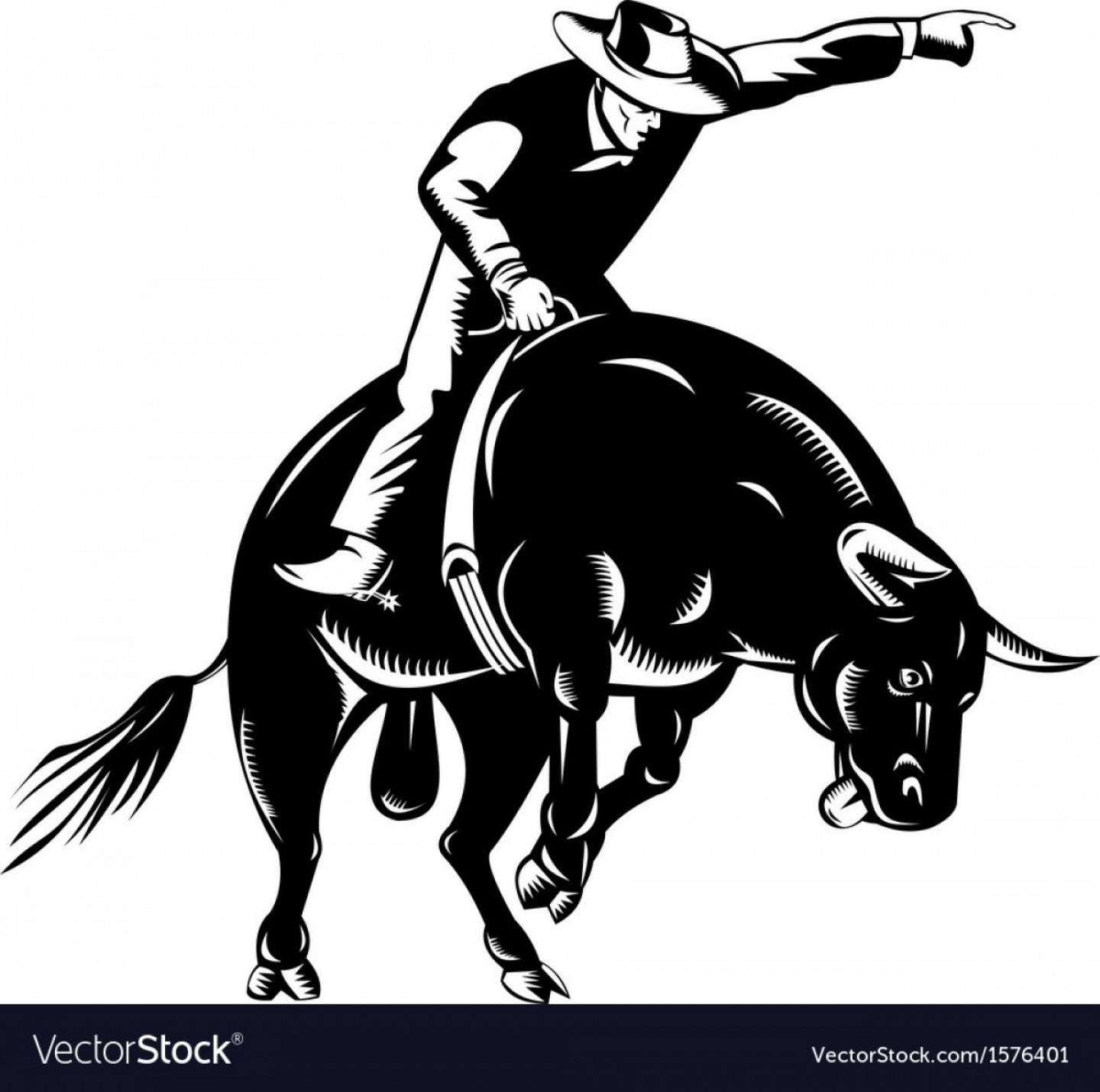 Praying Cowboy Vector: Rodeo Cowboy Bull Riding Retro Vector