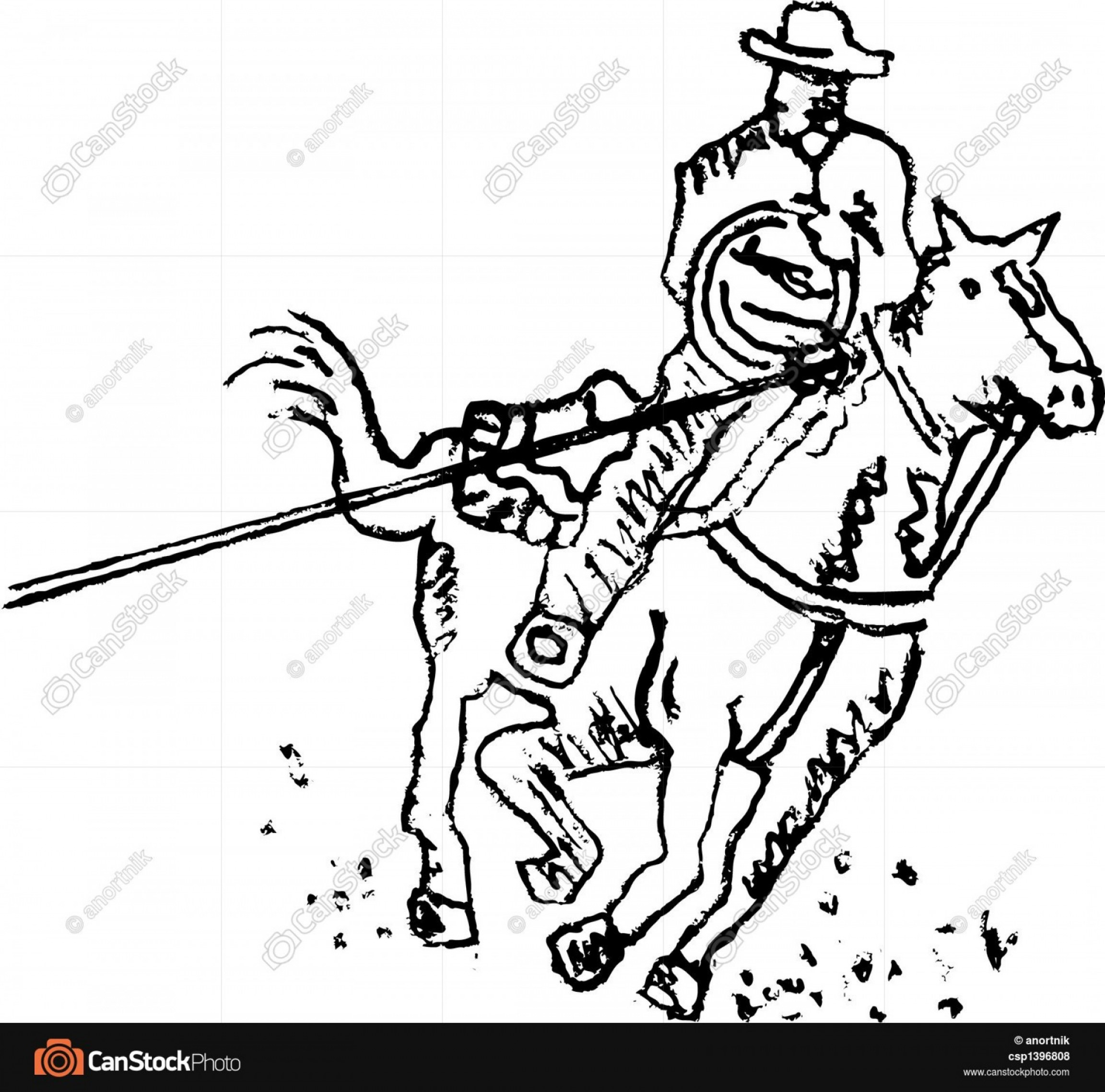 Praying Cowboy Vector: Rodeo Rider Western Cowboy Line Art