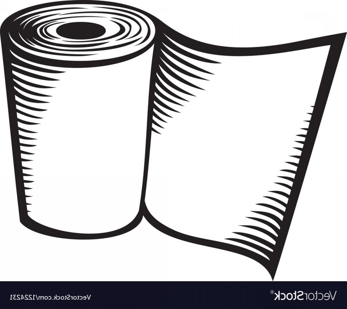 Toilet Paper Vector: Roll Of Toilet Paper Vector