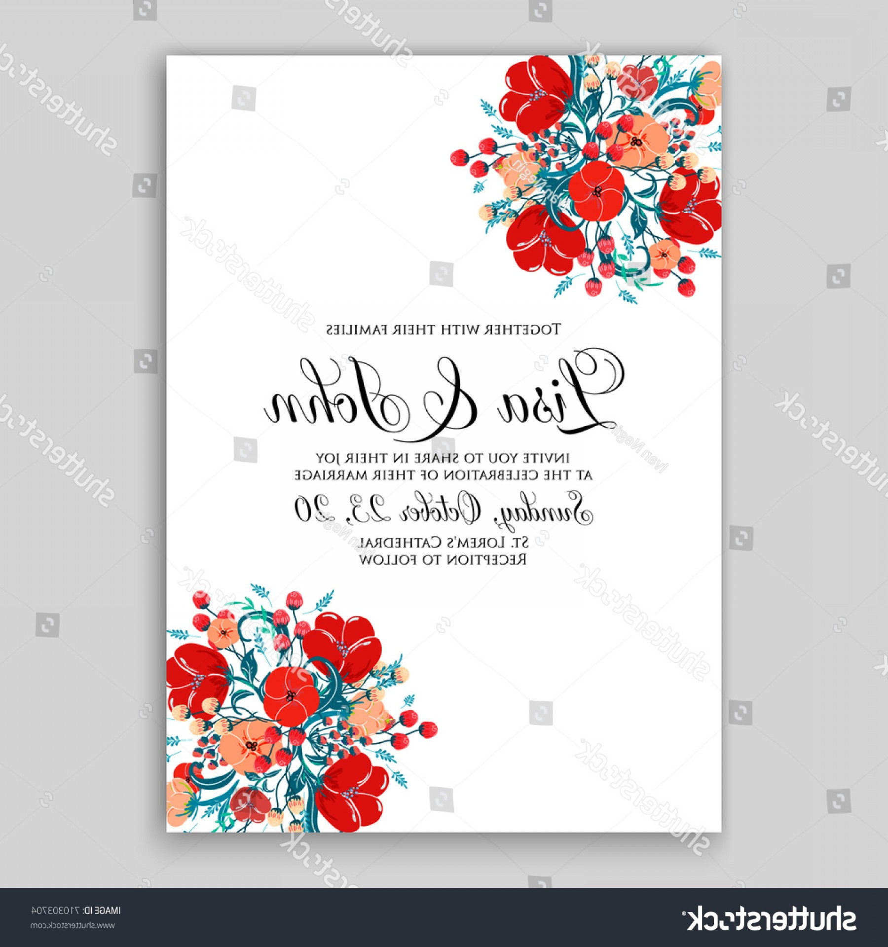 Rustic Wedding Invitation Vector: Romantic Spring Floral Rustic Flowers Background