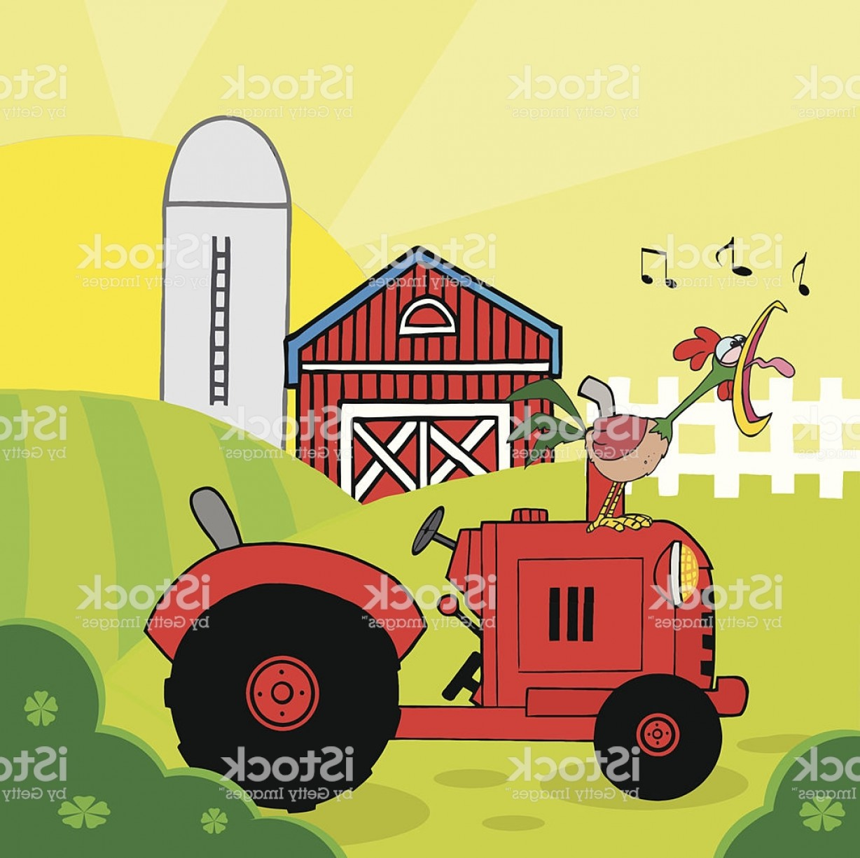 Vintage Tractor Vector Art: Rooster Crowing Of The Rising Sun In Vintage Tractor Gm