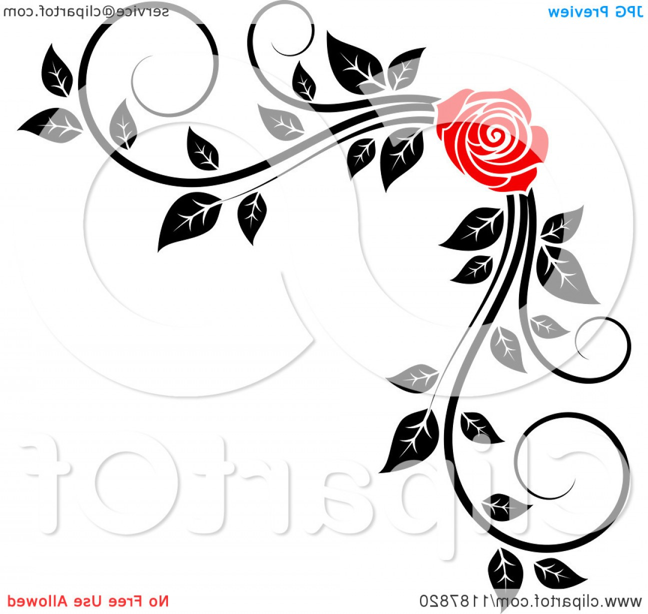 Simple Red Corner Vectors: Rose Clip Art Black And White Border