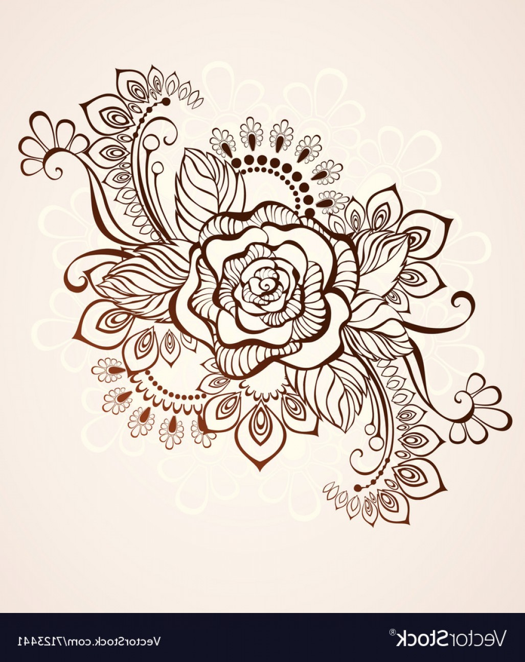 Vector Art Henna: Rose Painted With Henna Vector