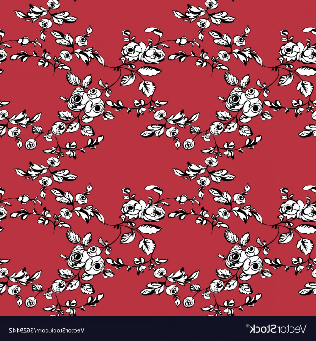 Red Black And White Vector Art: Rose Seamless Pattern Red Black White Vector