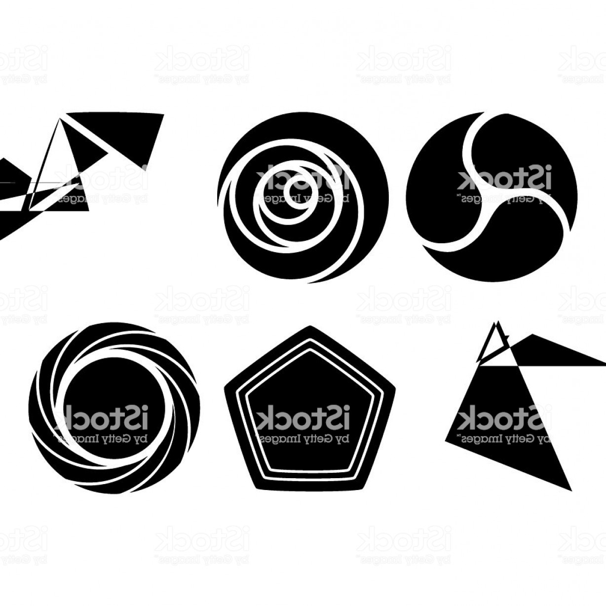 Sign Shapes Vector Art: Round And Triangular Geometric Shapes Vector Set For Signs Gm