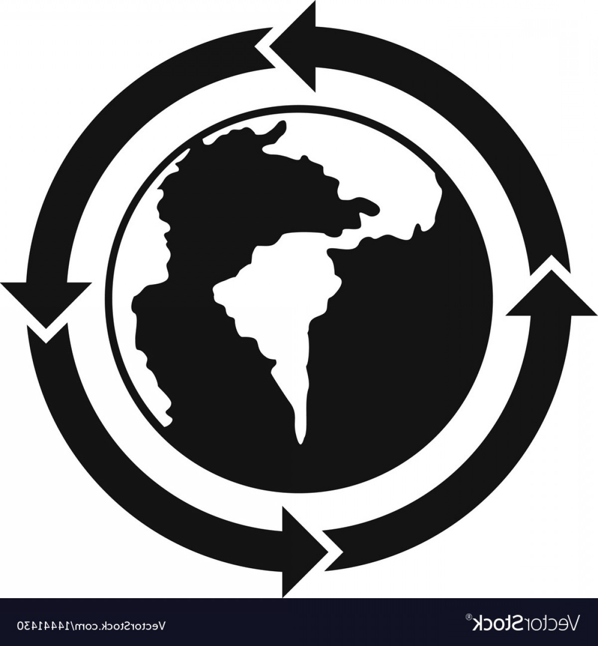 World Icon Vector Simple: Round Arrows Around World Planet Icon Simple Style Vector