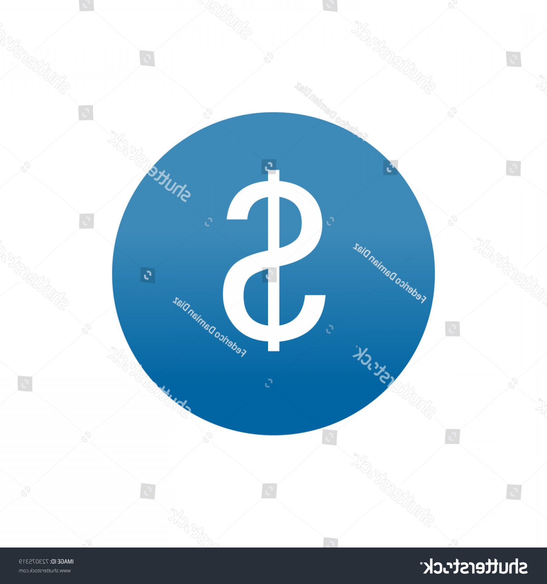Blue Dollar Sign Vector: Round Blue Icon Dollar Sign Vector