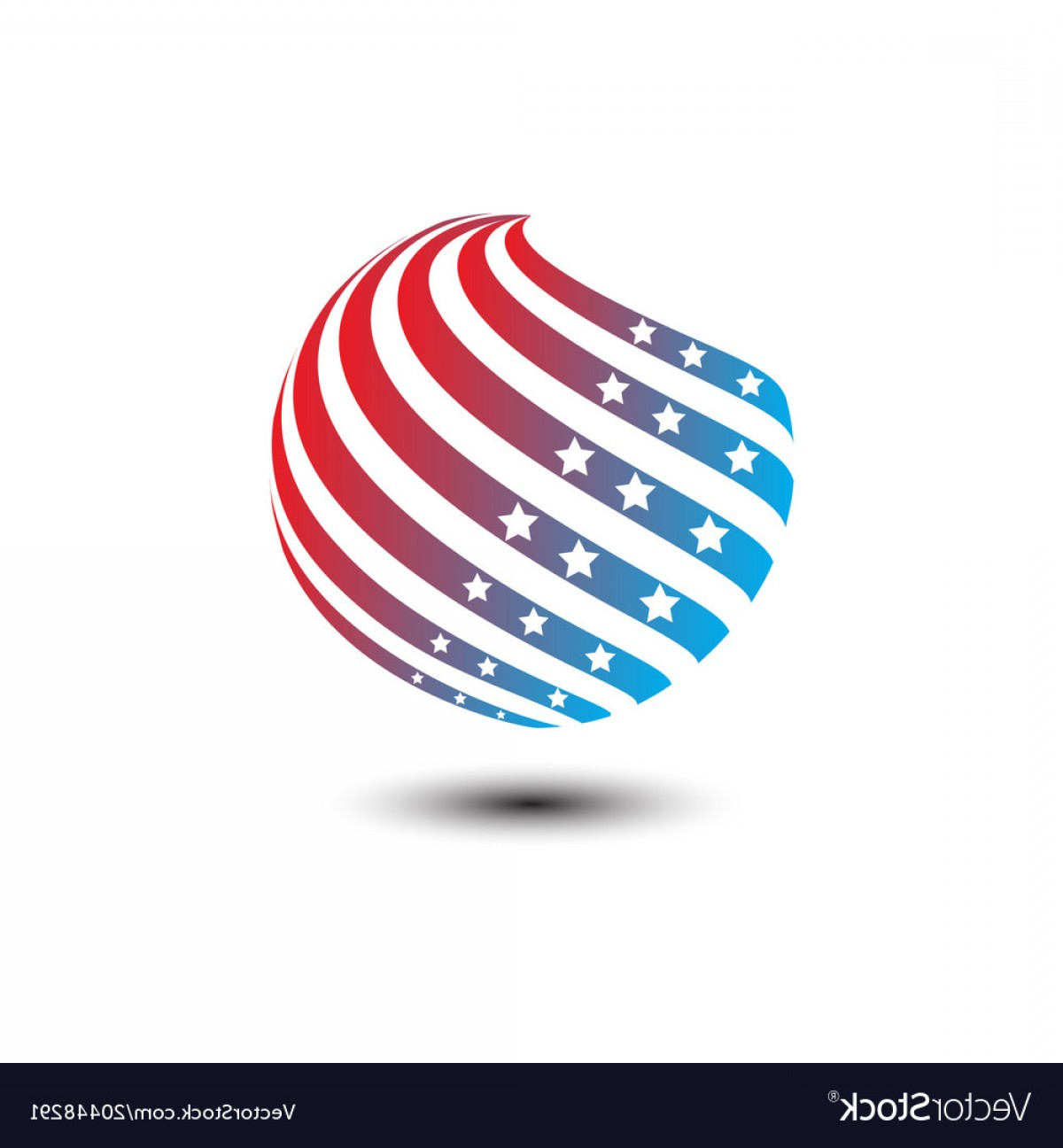 Texas Tech Logo Vector Graphic: Round Circle Shape American Flag Icon Vector
