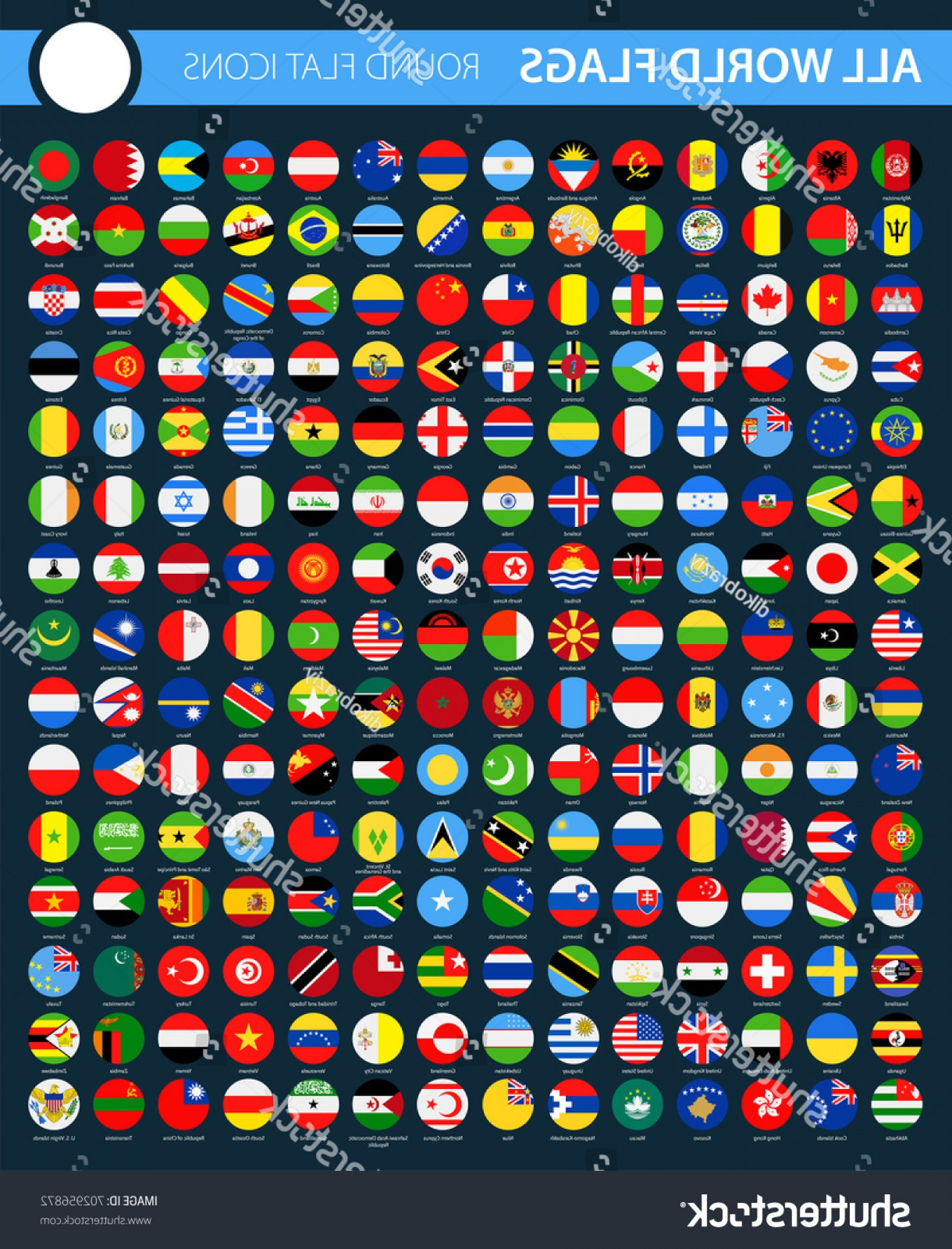 Vector Round Name List: Round Flat Flag Icons On Black