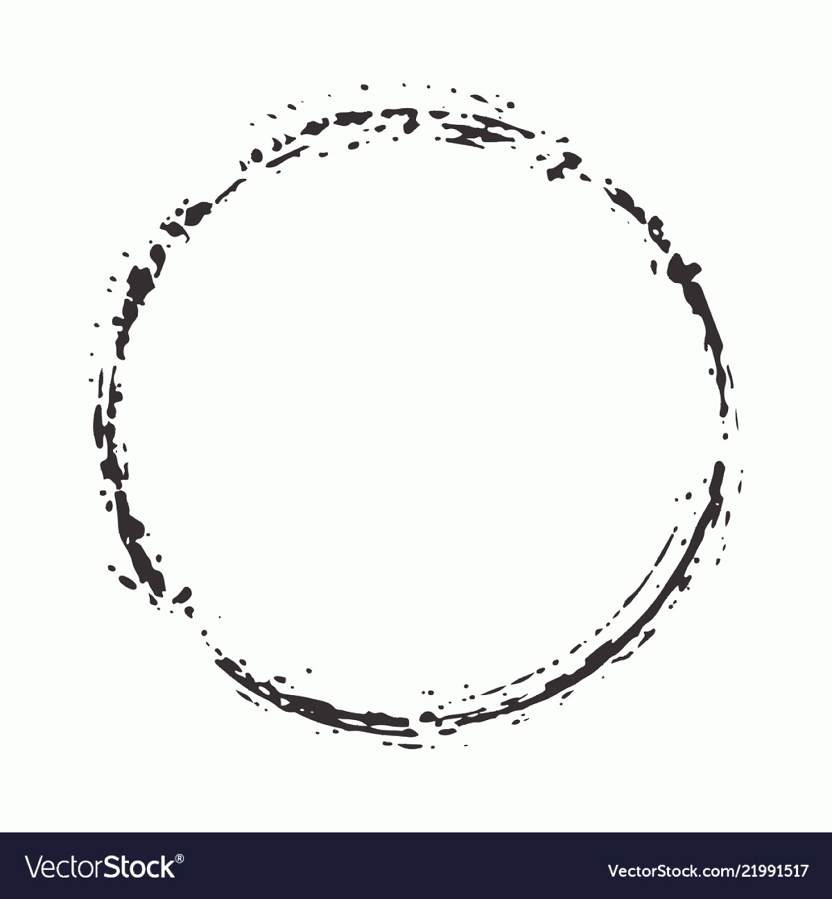 Distressed Border Circle Vector: Round Frame Grunge Textured Hand Drawn Element Vector