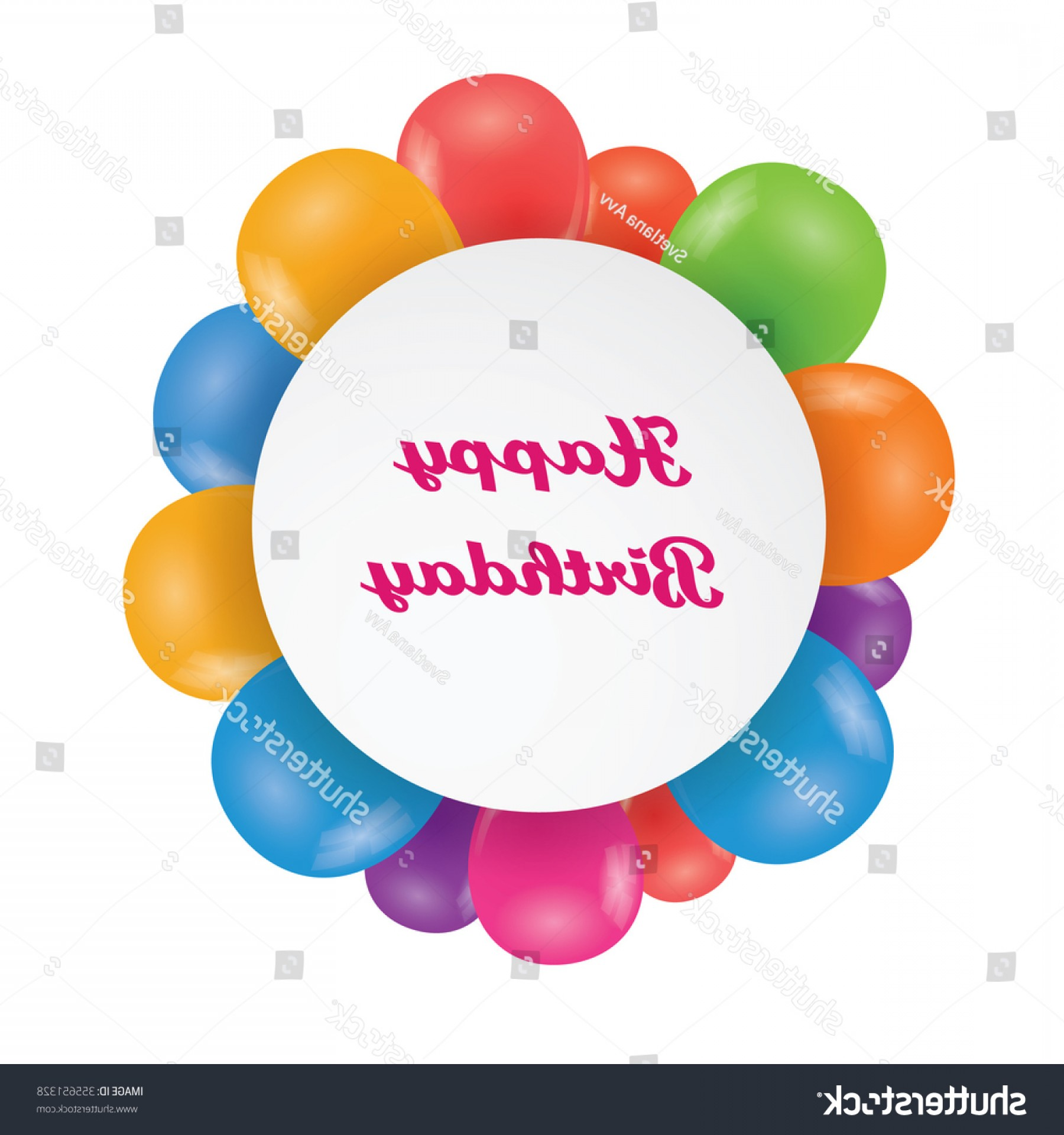 Birthday Card Vector Frame Designs: Round Frame Happy Birthday Multicolored Balloons