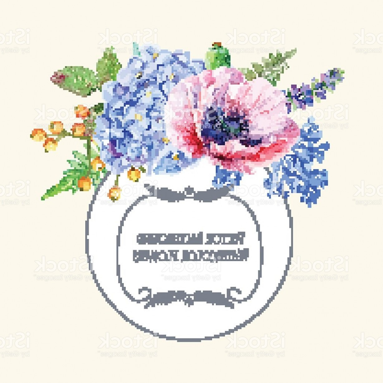Hydrangea Vector Graphics: Round Frame Of Watercolor Poppies And Hydrangea Gm