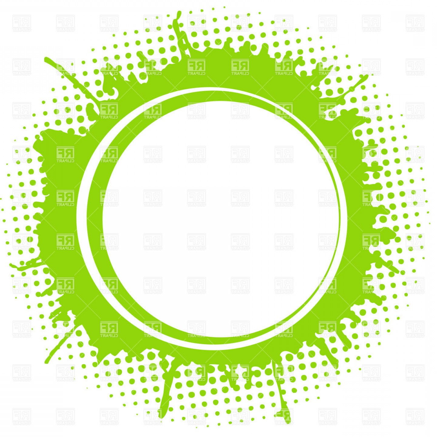 Green Oval Border Vector: Round Frame Over Green Paint Blot Vector Clipart