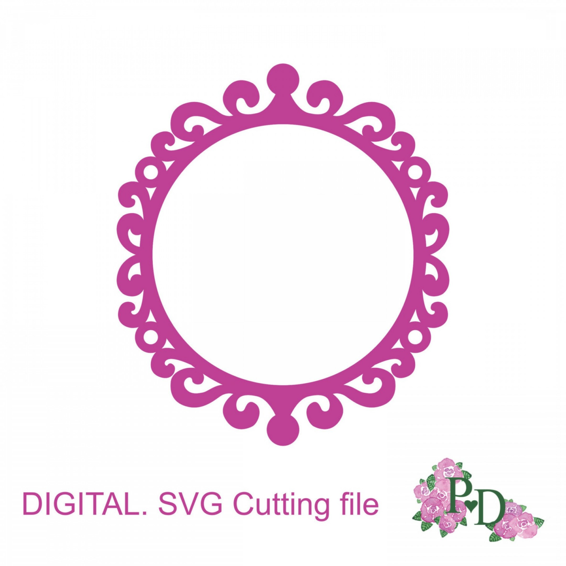 Round Frame Vector Silhouette: Round Frame Silhouettes Svg Dxf Vector