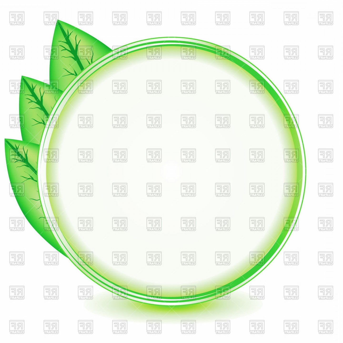 Green Oval Border Vector: Round Frame With Green Leaves Bio Concept Vector Clipart