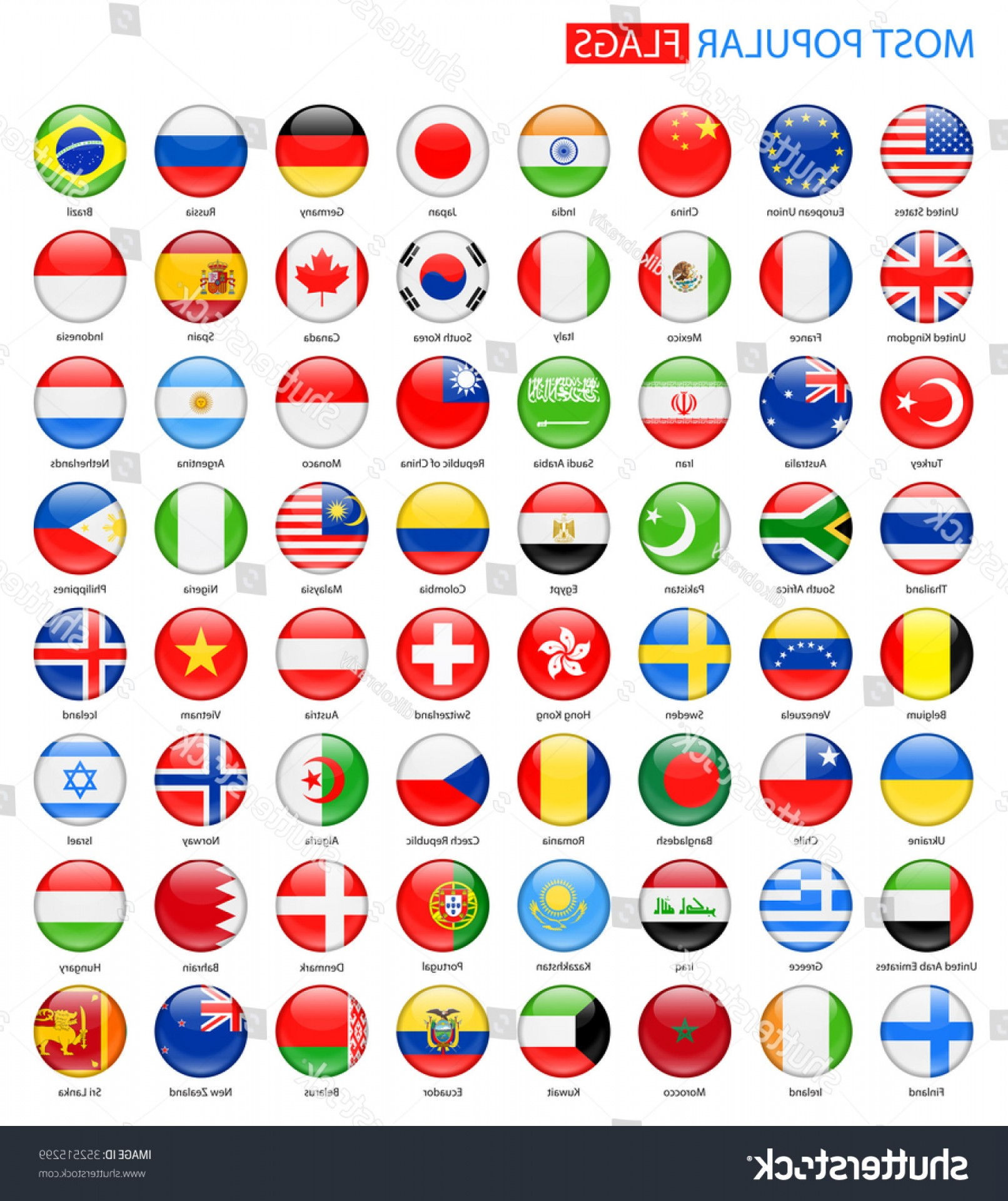 Vector Round Name List: Round Glossy Most Popular Flags Vector
