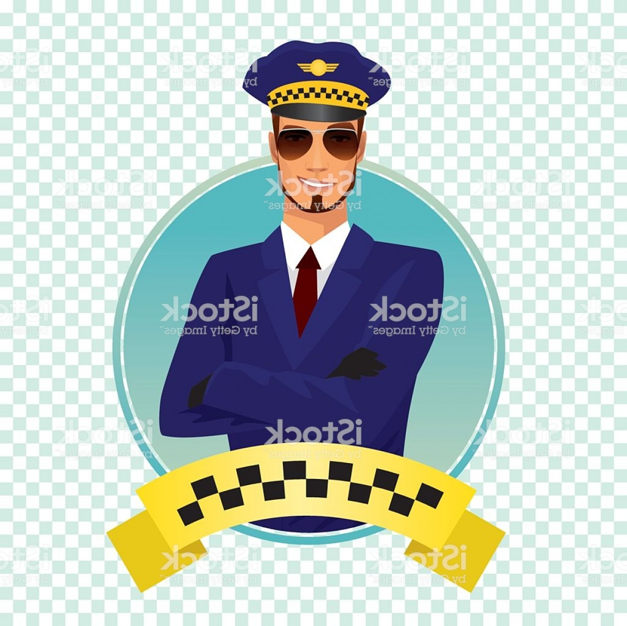Chauffer Driver Cap Vector: Round Icon With Stylish Shaving Taxi Driver Gm