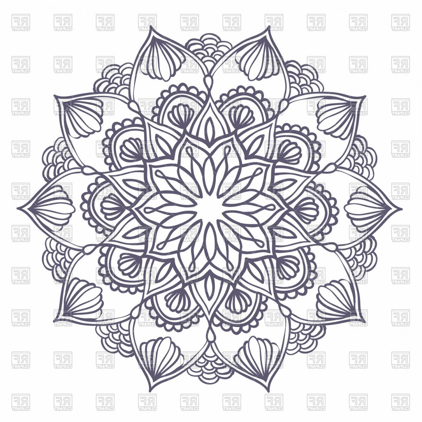 Flower Elements Vector: Round Pattern With Floral Elements Ornamental Mandala Vector Clipart