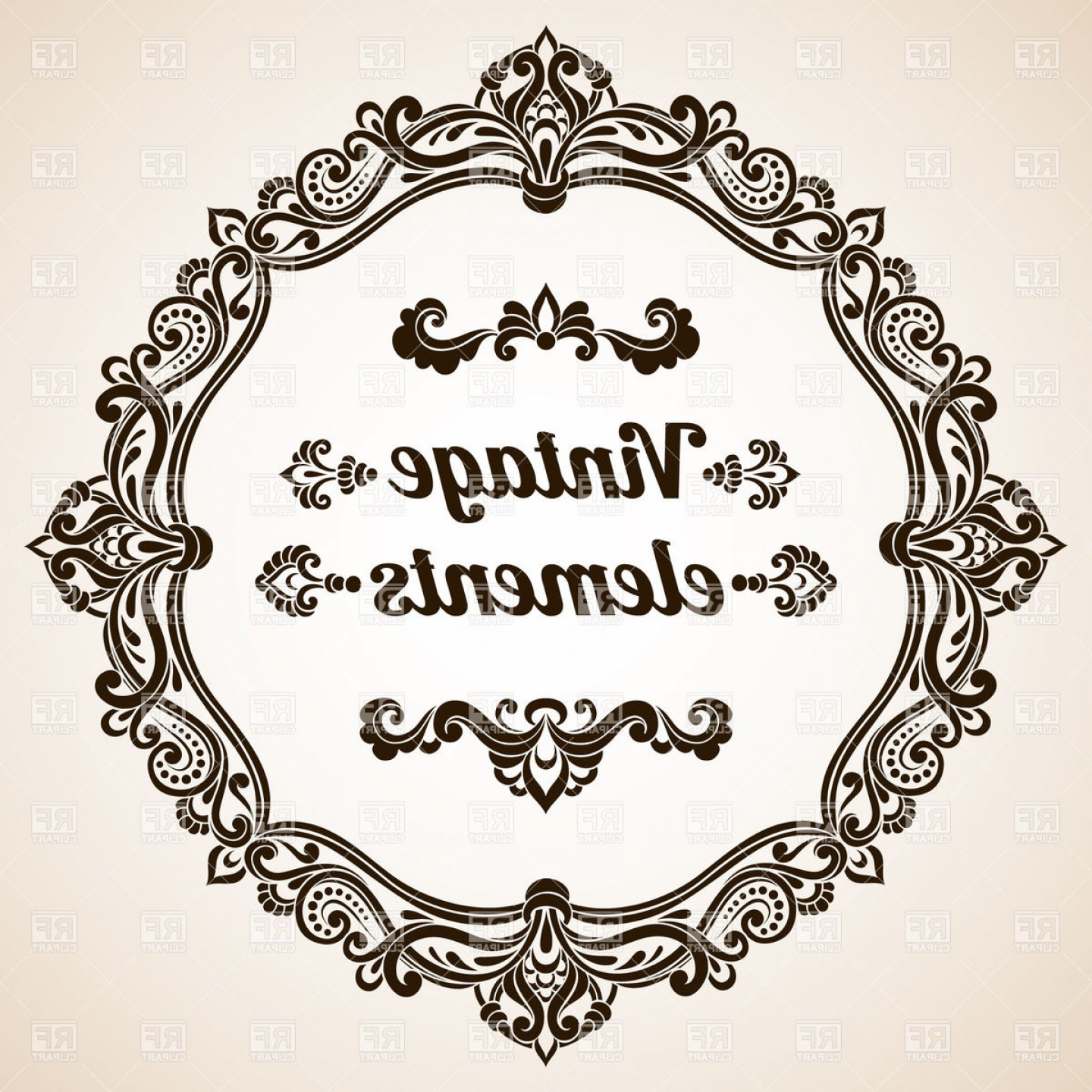 Vector Ornate Vintage Frame Blank: Round Vintage Frame With Ornate Border Vector Clipart