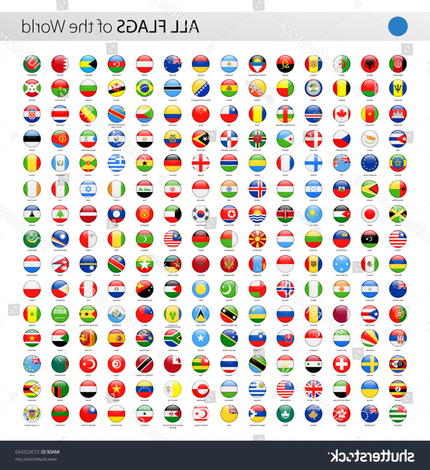 Vector Round Name List: Round World Flags Vector Collection All