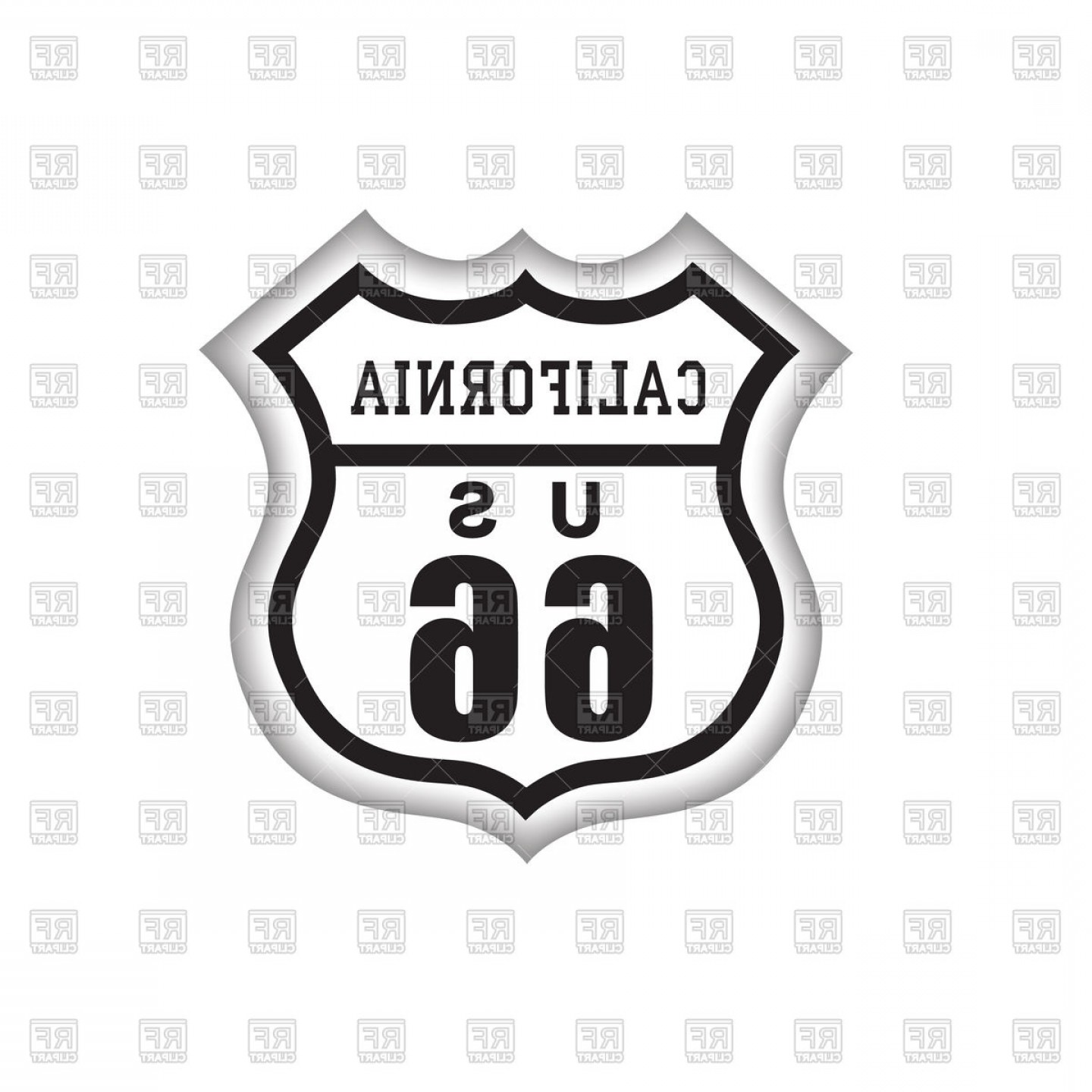 California Black And White Vector: Route Label With California Lettering American Road Icon Vector Clipart