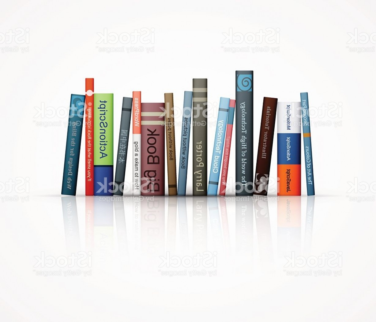 ActionScript Vector: Row Of Books On White Background Gm