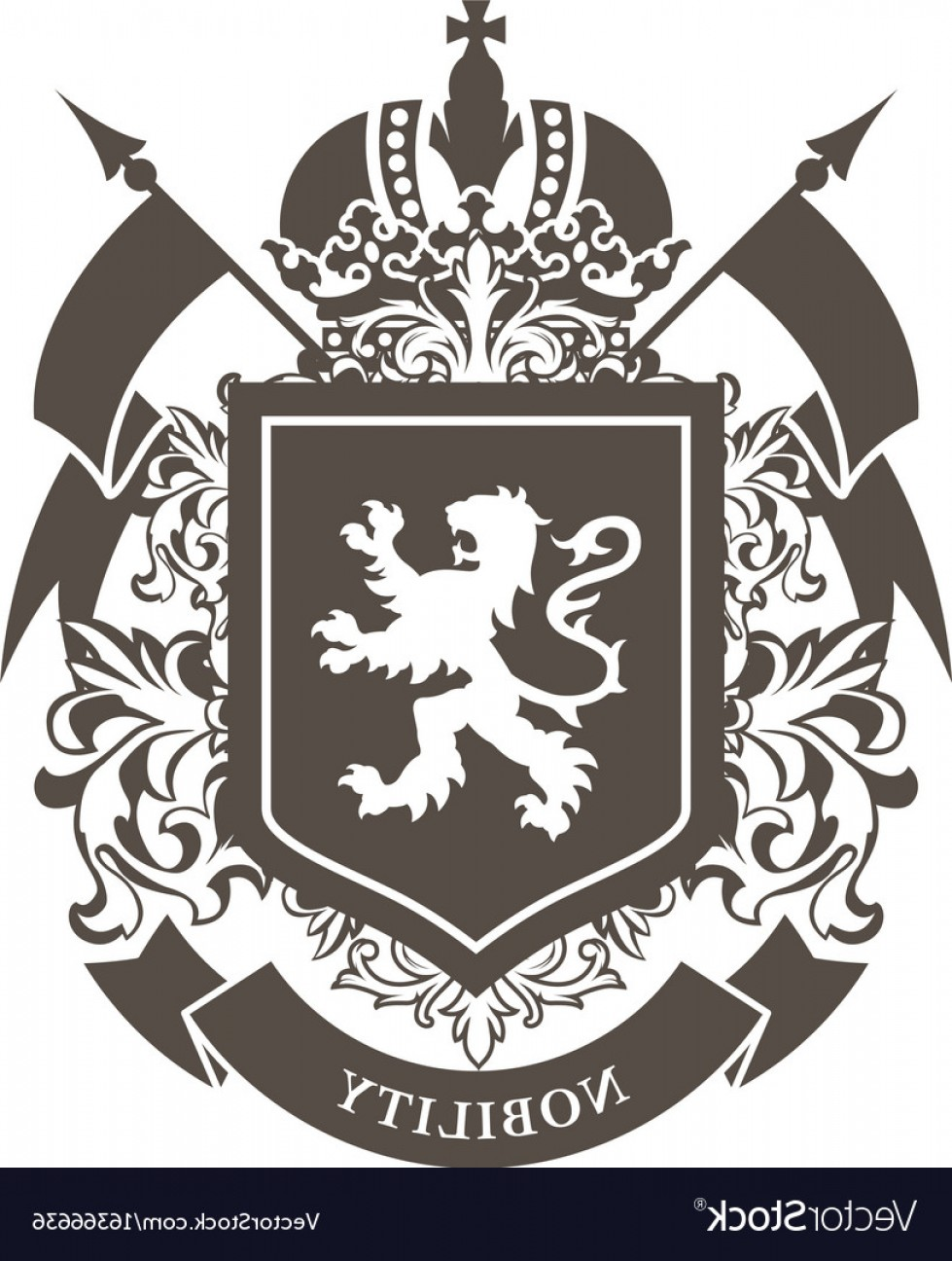 Crest And Coat Of Arms Vector Silhouette: Royal Blazon Luxurious Coat Of Arms With Lion Vector