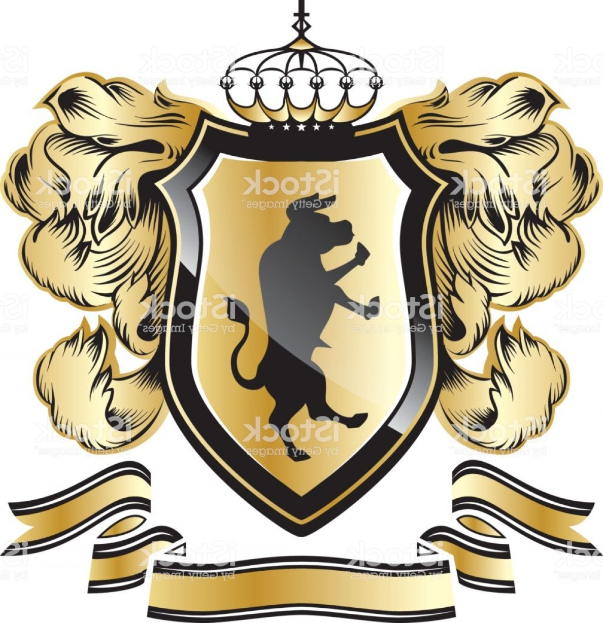 Crest And Coat Of Arms Vector Silhouette: Royal Crest Coat Arms Heraldry Shield Symbol Silhouette Power Logo Gm