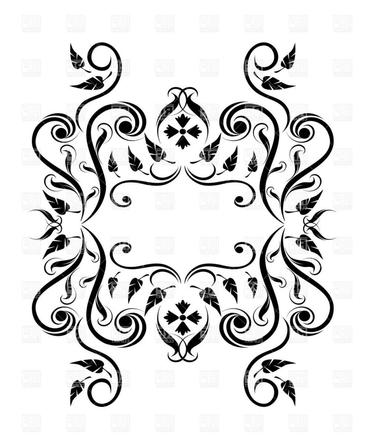 Florid Vector Simple: Royal Floral Frame Made Of Lush Curly Elements Vector Clipart