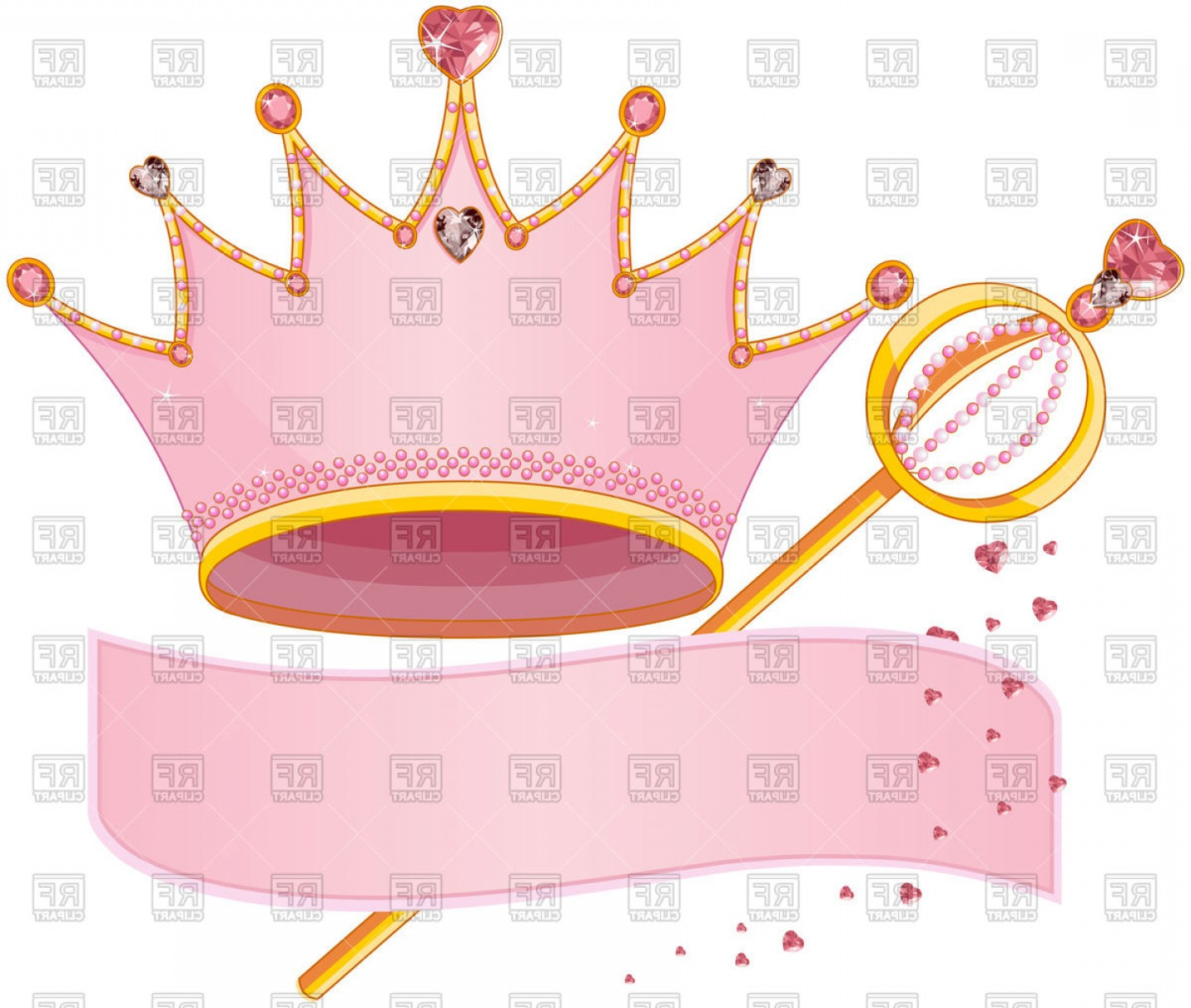 Medical Scepter Vector: Royal Regalia Crown Scepter And Pink Banner Vector Clipart