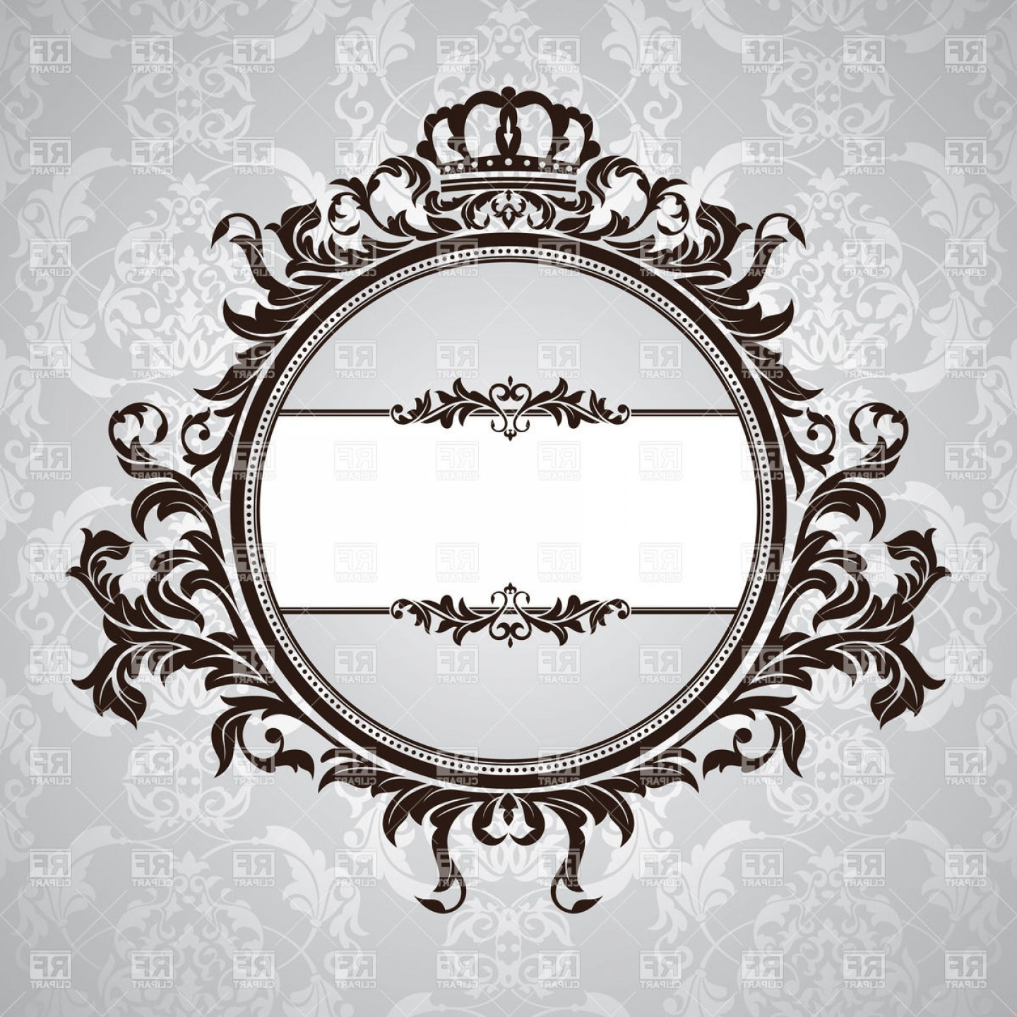 Free EPS Vector Art: Royal Retro Frame With Vintage Floral Ornament With Crown Vector Clipart