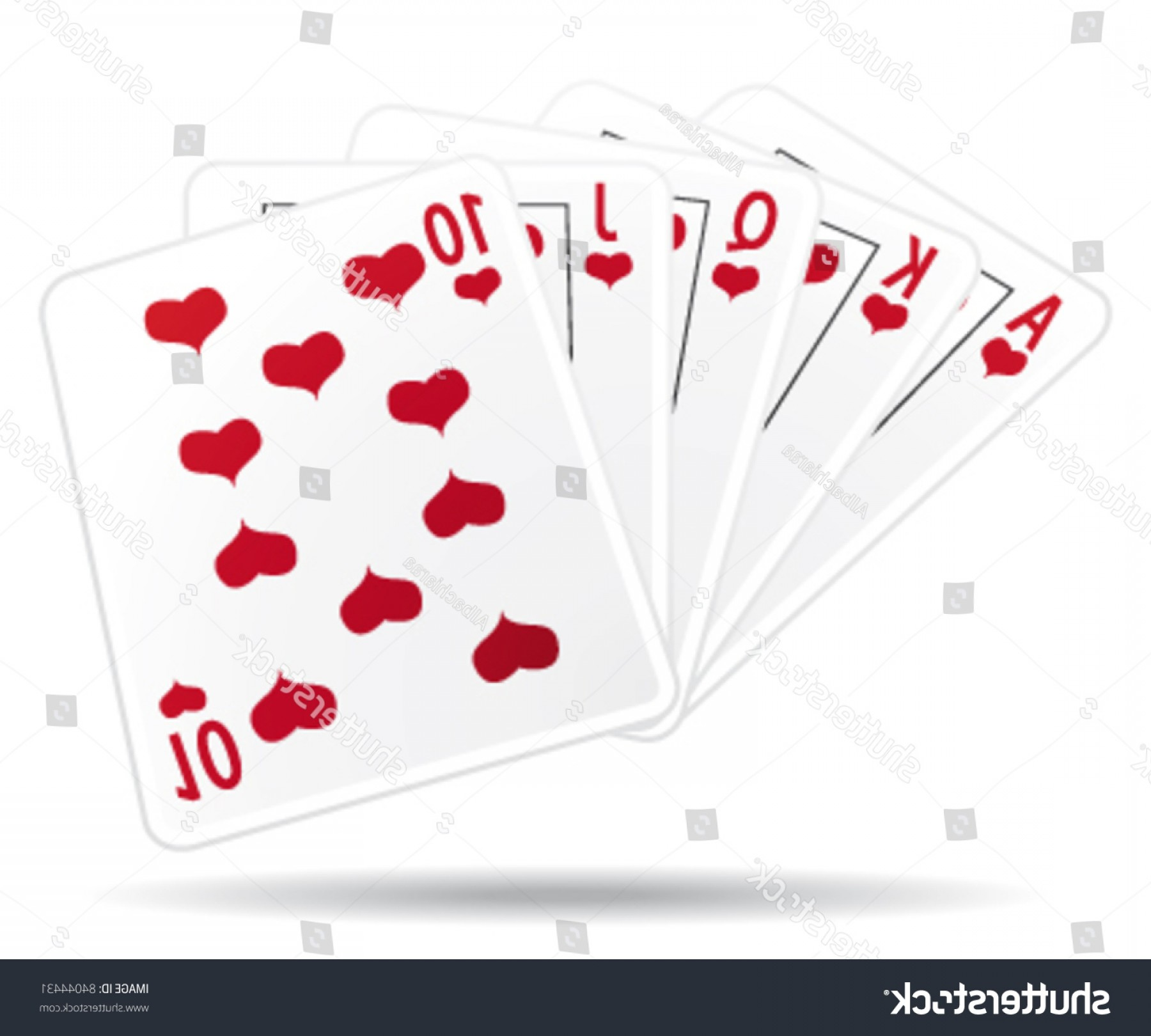 10 Playing Card Vector: Royal Straight Flush Playing Cards Vector
