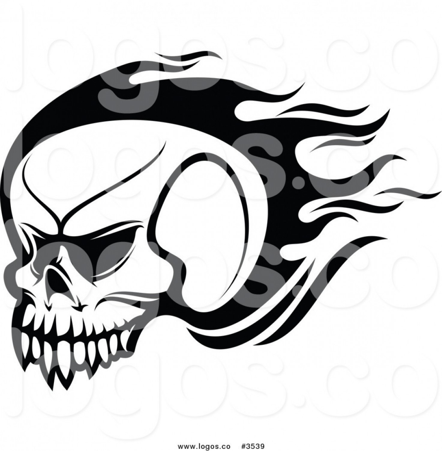 Flying Skull Vector: Royalty Free Black And White Skull Logo By Vector Tradition Sm
