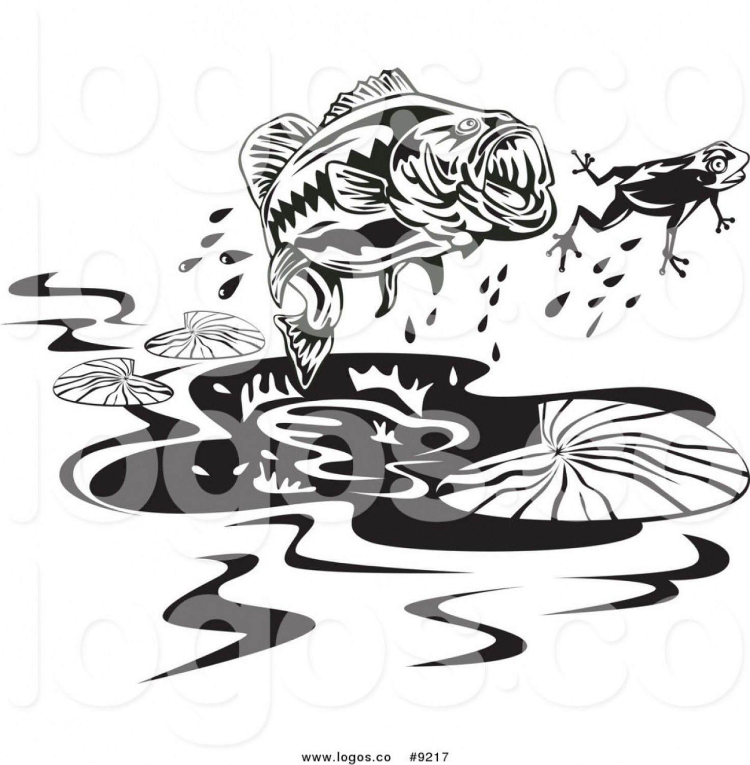 Largemouth Bass Silhouette Vector: Royalty Free Clip Art Vector Angling Logo Of A Black And White Largemouth Bass Fish Chasing A Frog By Patrimonio