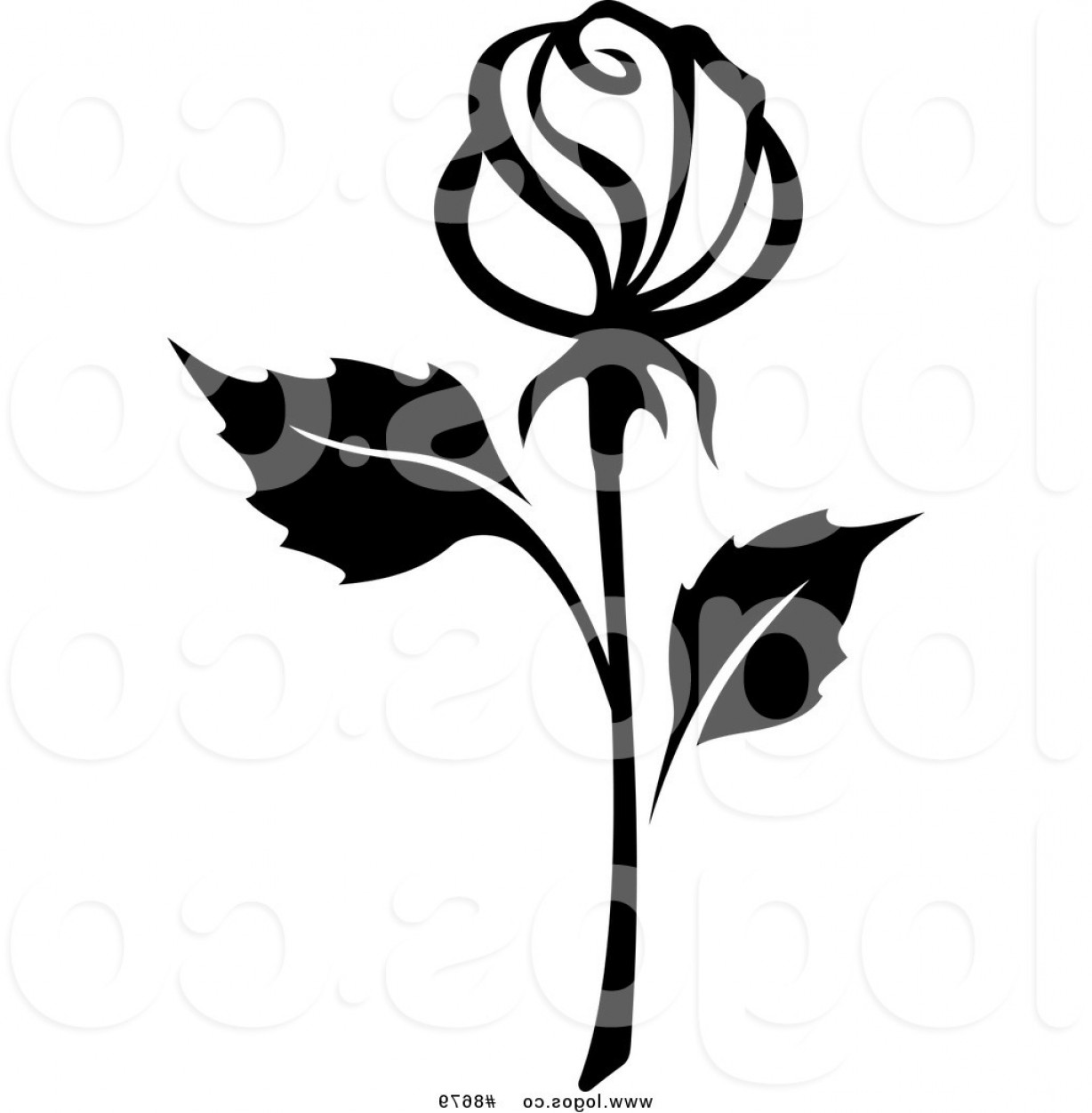 Roses Logo Vector: Royalty Free Clip Art Vector Black And White Rose With A Long Stem Logo By Vector Tradition Sm