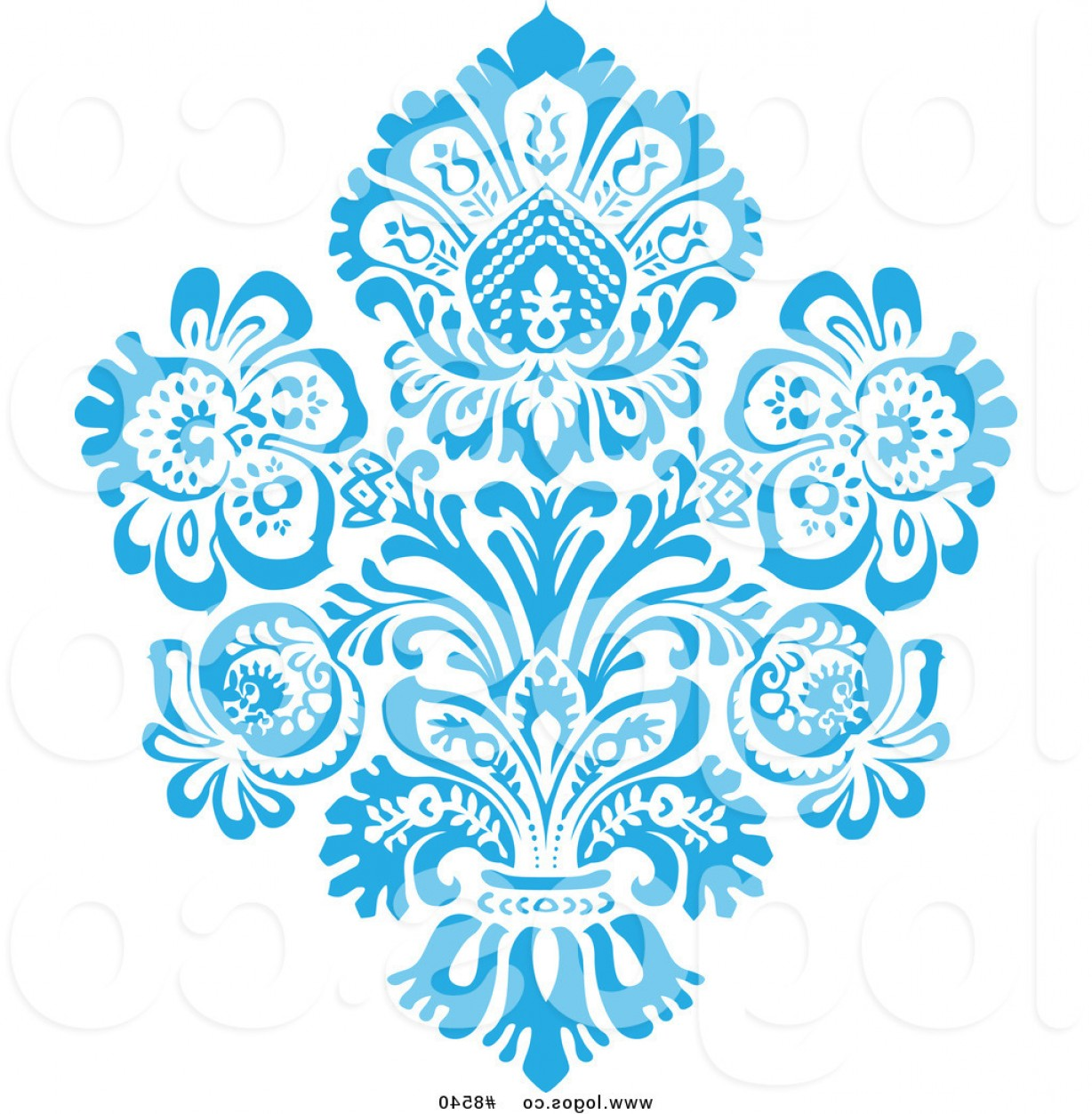Victorian Motif Vector: Royalty Free Clip Art Vector Blue Victorian Floral Damask Logo By Bestvector