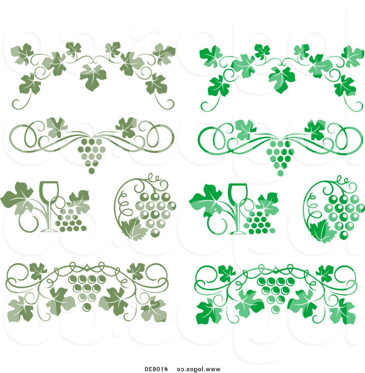Vine Vector Graphics: Royalty Free Clip Art Vector Bright And Olive Green Wine Grapes And Vines Logos By Vector Tradition Sm