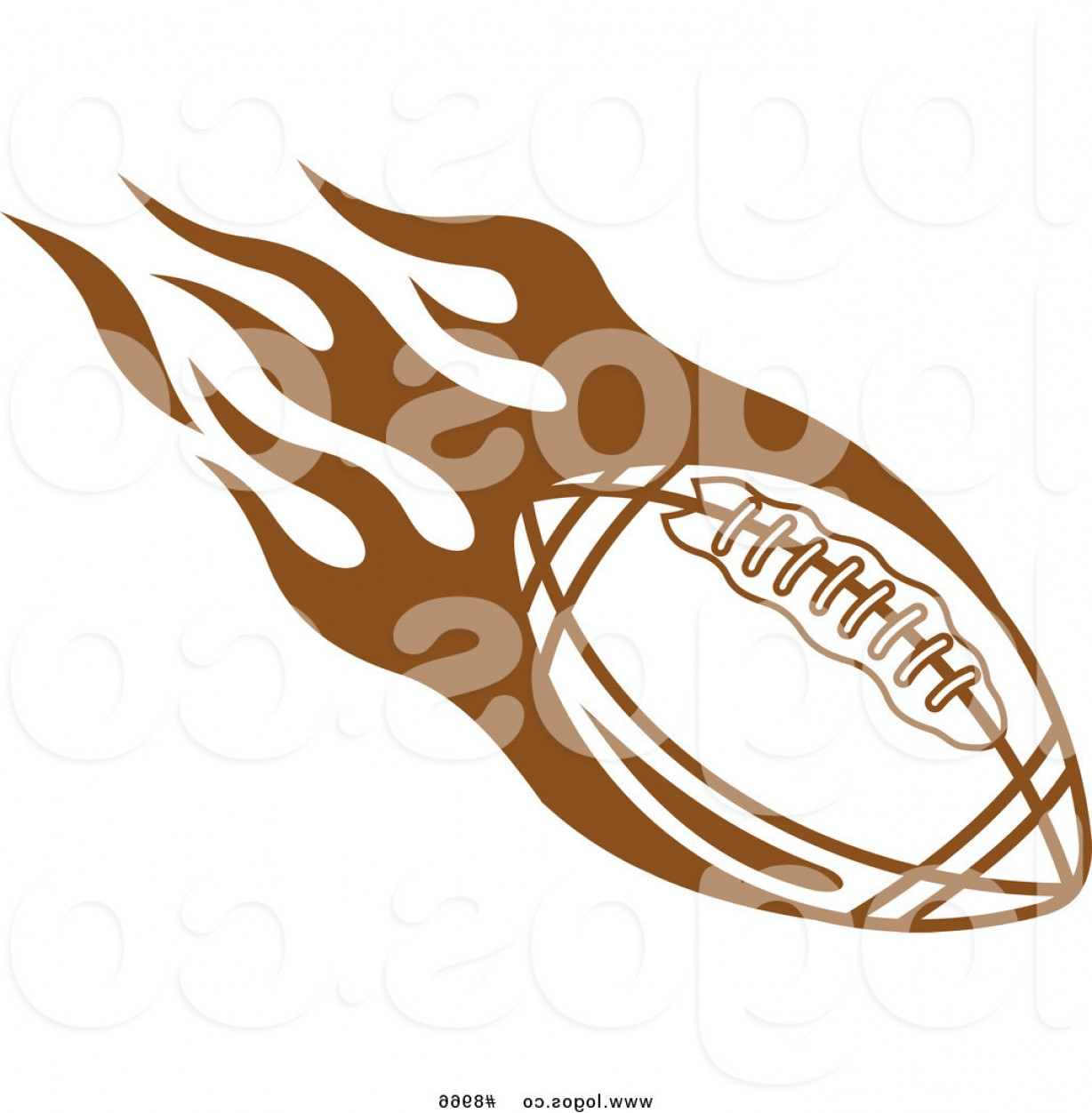 Tribal Football Vector Art: Royalty Free Clip Art Vector Brown Flying American Football With Tribal Flames Logo By Vector Tradition Sm