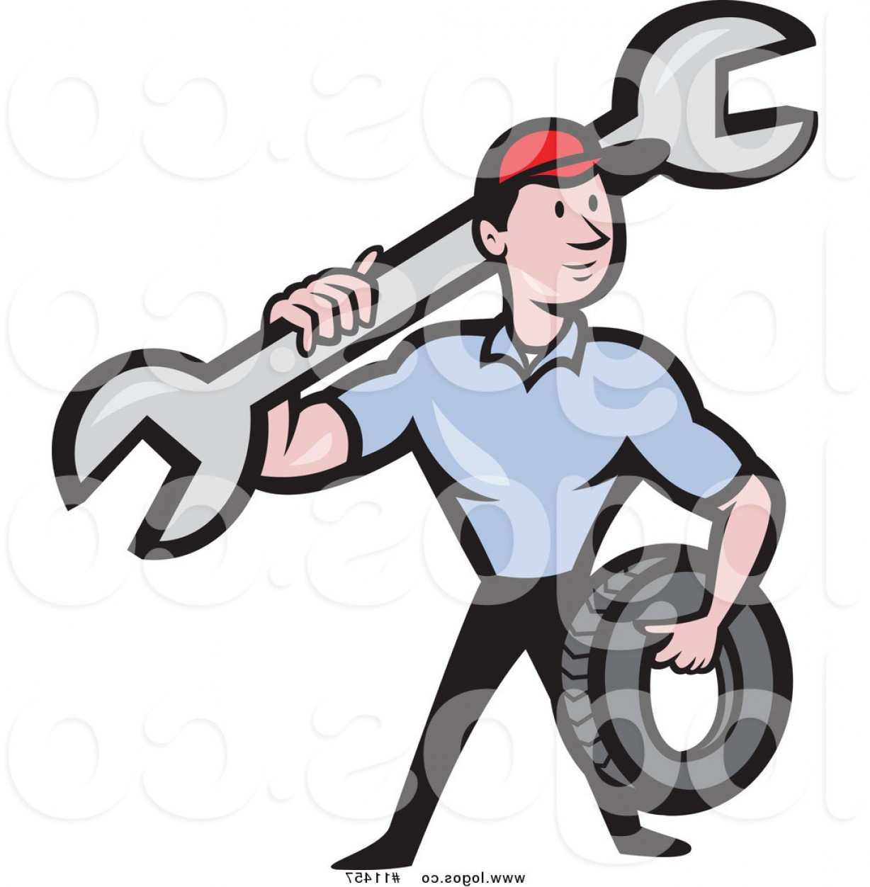 Vector Cartoon Free Clip Art: Royalty Free Clip Art Vector Cartoon Mechanic Worker Holding A Tire And Spanner Wrench Logo By Patrimonio