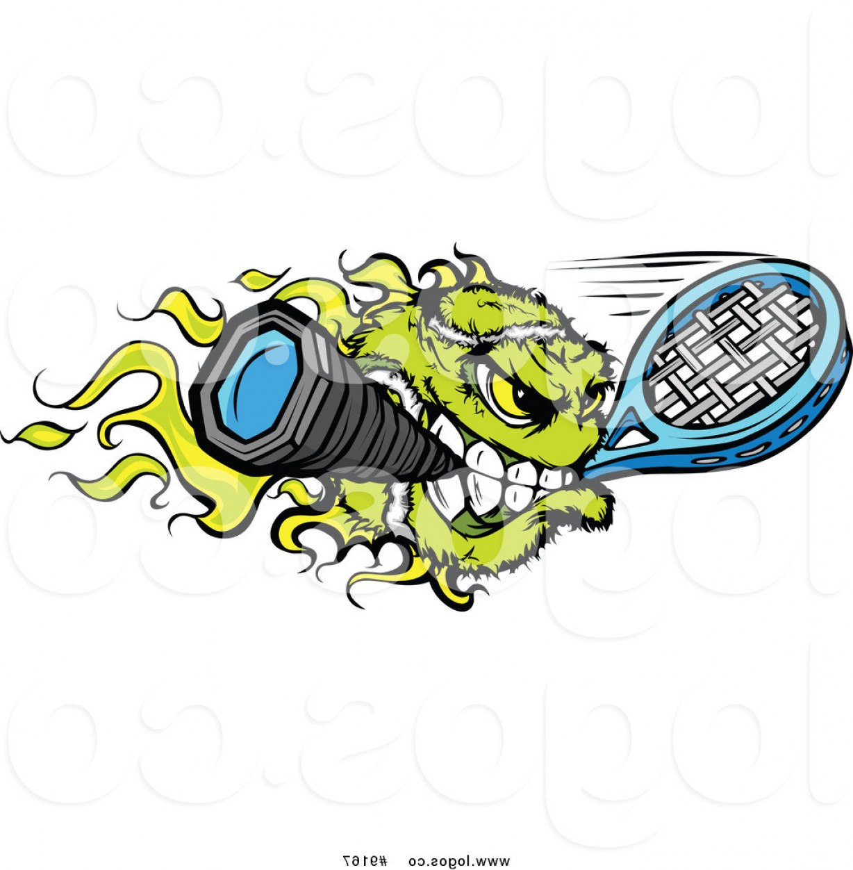 Flaming Tennis Ball Vector Art: Royalty Free Clip Art Vector Flaming Tennis Ball Biting A Racket Sports Logo By Chromaco