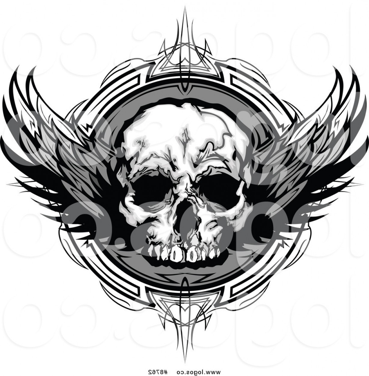 Eye Tribal Skull Vector: Royalty Free Clip Art Vector Grayscale Winged Skull Over An Ornate Circle Logo By Chromaco