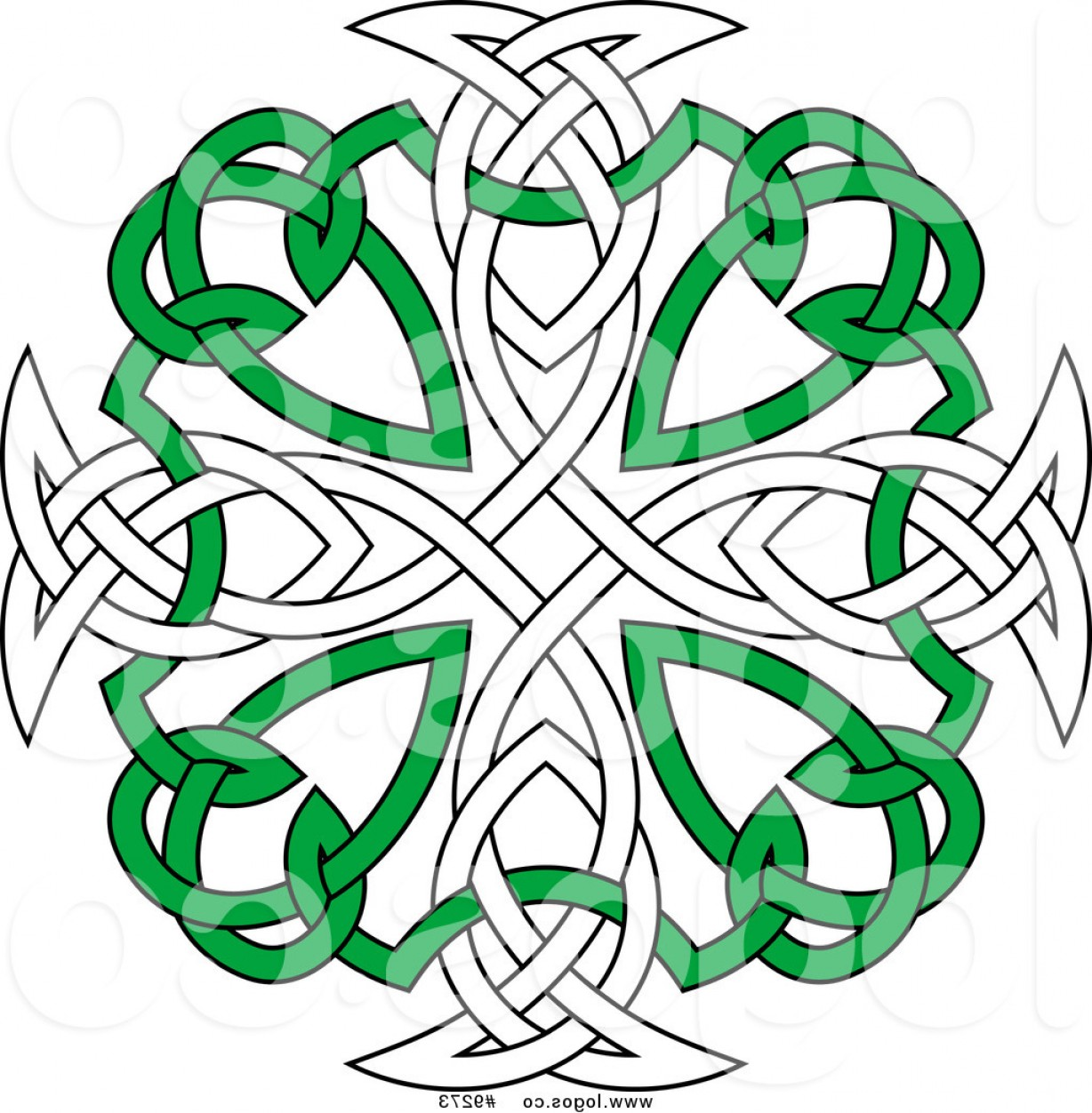 Cool Cross Vector Clip Art: Royalty Free Clip Art Vector Green And White Celtic Knot Cross Logo By Vector Tradition Sm